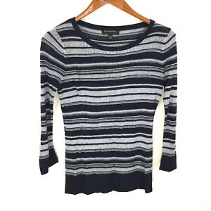 Banana-Republic-Blue-Striped-Thin-Knit-Crewneck-Pullover-Sweater-Women-039-s-Size-XS