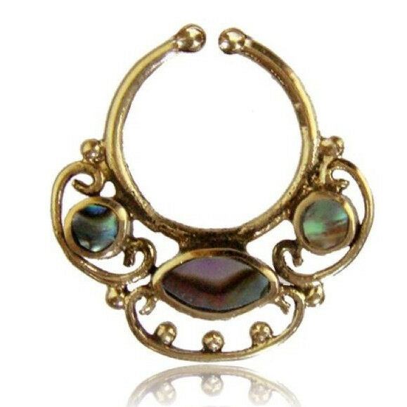 ORNATE FAKE FAUX CHEATER BRASS HANGING SEPTUM RING NOSE SEPTUMS ABALONE SHELL