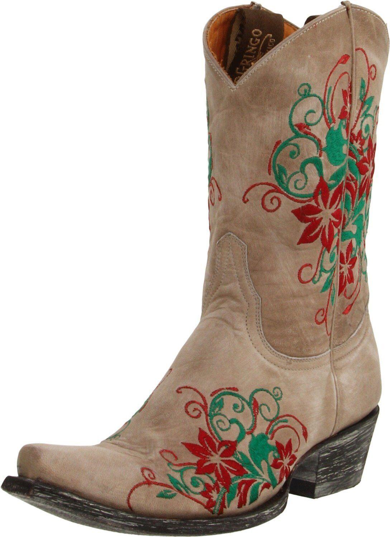 New Old Gringo Bone Rania Floral Embroidered Cowboy Stivali 9.5 Genuine Pelle