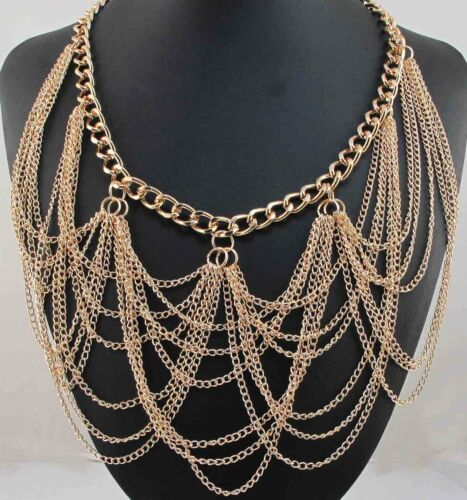 Fashion Pendentif Crystal Bib Statement Charme Chunky Gold Filled Collier Collier 9