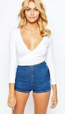 New~American Apparel 2x2 Rib Wrap Top White Ribbed Long Sleeve Deep V Small