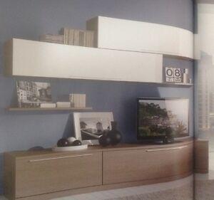 Parete attrezzata moderna porta tv plasma lcd soggiorno - Parete tv moderna ...