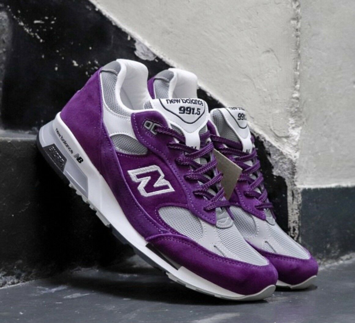 DS NIB MENS NEW BALANCE 991.5 M991.5CC MADE IN ENGLAND SZ 12 PURPLE WHITE FREE