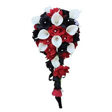 Cascade Bridal bouquet:Apple Red Black White.Silk rose real touch calla lily