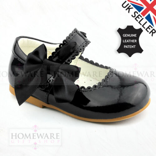 BABY GIRLS LEATHER SPANISH PATENT SHOE MARY JANE SATIN SLOTTED BOW UK2 TO UK12