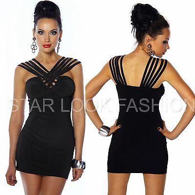 Minikleid Longtop Partykleid Club-Kleid Cocktailkleid kurz Kleid schwarz XS-XL