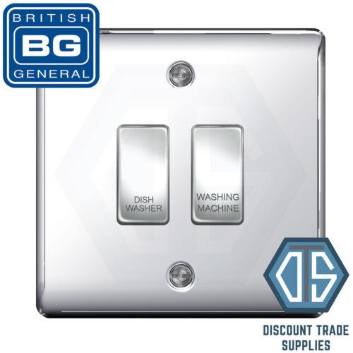 BG Chrome Poli Miroir Custom Grille Switch Panel Kitchen Appliance 2 Gang