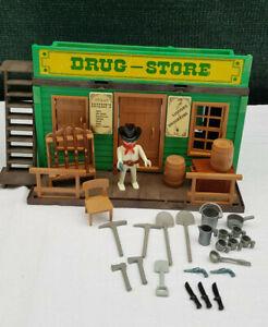 Playmobil-Drugstore-3424-Westerngebaude-guter-Zustand-Westernhaus-m-viel-Zubehor