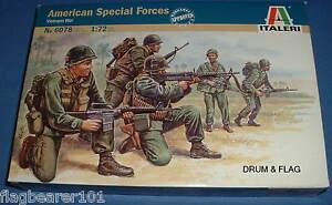 ITALERI-6078-AMERICAN-SPECIAL-FORCES-VIETNAM-1-72-SCALE-UNPAINTED-PLASTIC-FIGS