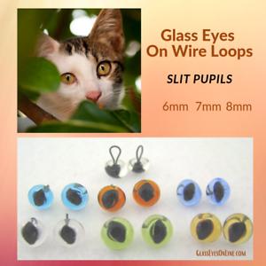 Cat Sew SLP-201 6 PAIR 9mm or 10mm Glass Eyes Wire Loop SLIT Pupil Needle Felt