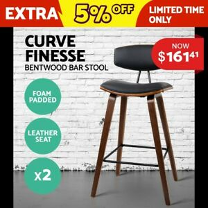 2x Wooden Bar Stools Kitchen Barstool Dining Chair Cafe Wood Black 8782 9350062116401