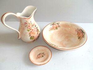Set TOILETTE catino brocca piattino ceramica MADE IN FLORENCE DECORO ROSA ROSE