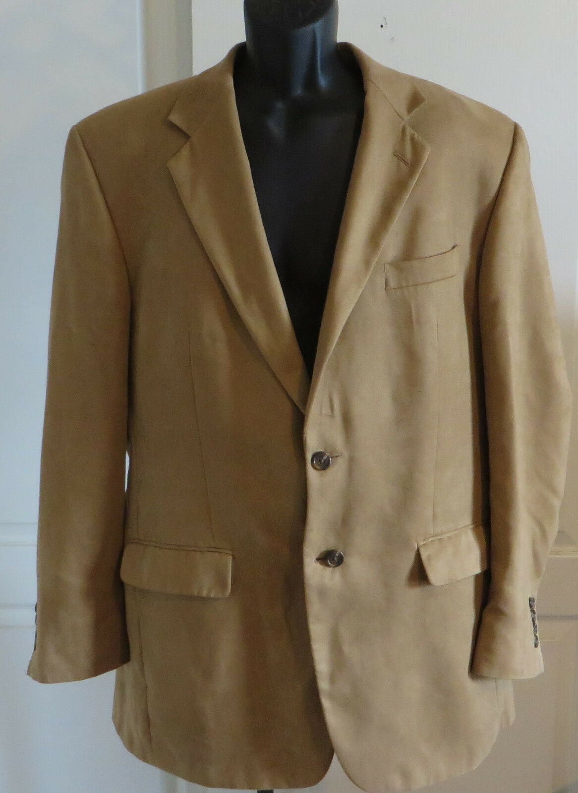 Chaps by Ralph Lauren Mens Microfiber Blazer Size 42L Tan Sport Coat