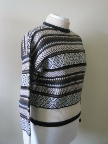 1970 S 1980 S Pull St Michael Label m&s Fair Isle Nordique Marron Crème ski SZ 12 afficher le titre d'origine