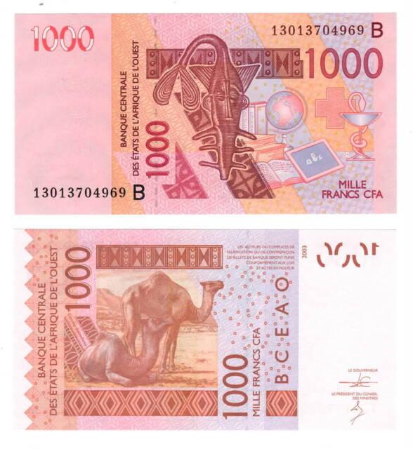 UNC BENIN 1000 West African Francs (2003) P-215B
