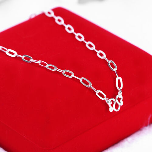 """sc173 Width 4mm 14/"""" Long Cable Hammered Chain Solid 925 Sterling Silver"""