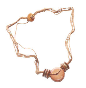 Intriguing-Light-Brown-Burnished-Wooden-Button-MultiStrand-Necklace-Zx58-148