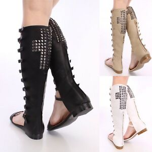 Studded Patent Gold Caged Thigh high boots Stilettos Over the Knee Sandals G6