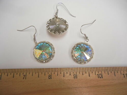 1 pair,earrings w//austrian slant rondells and rivoli,25mm crystal AB