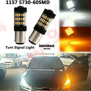 2x-1157-60SMD-Dual-Color-Switchback-White-Amber-5730-LED-Turn-Signal-Light-Bulb