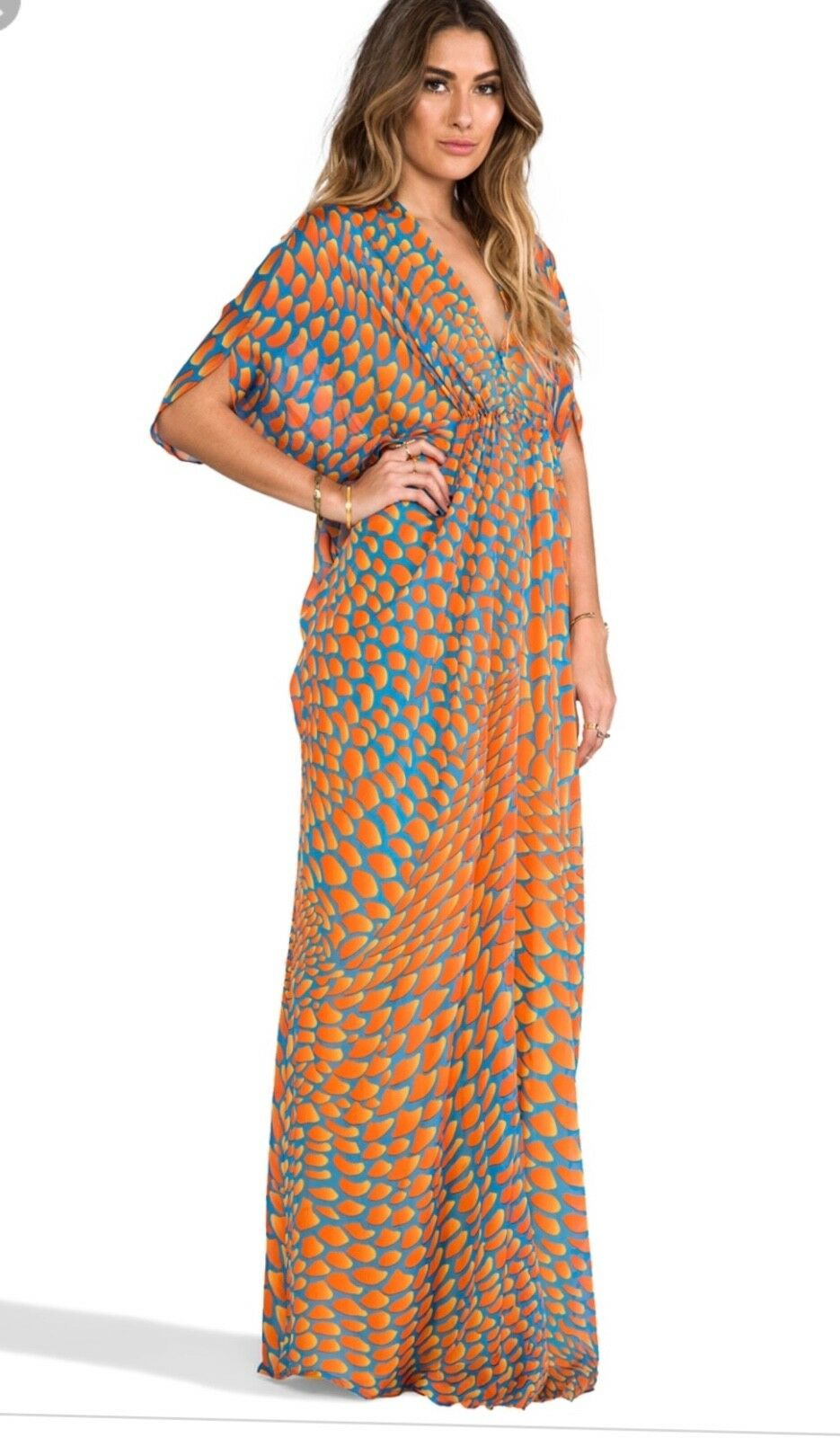 ISSA ISSA ISSA LONDON orange MAXI DRESS SIZE US10 UK14 f85894