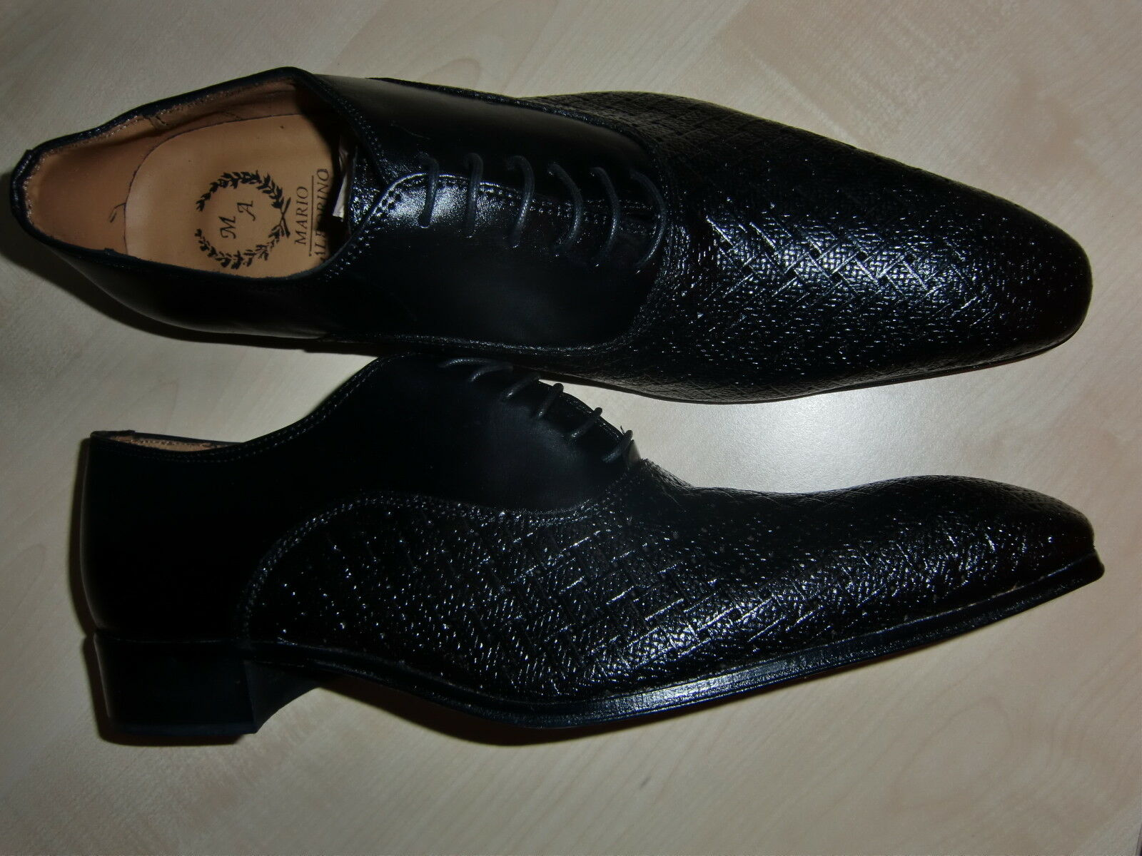 Mario Alborino, eleganter Schnürschuh für Herren, Gr. 44, schwarz, Leder, neu