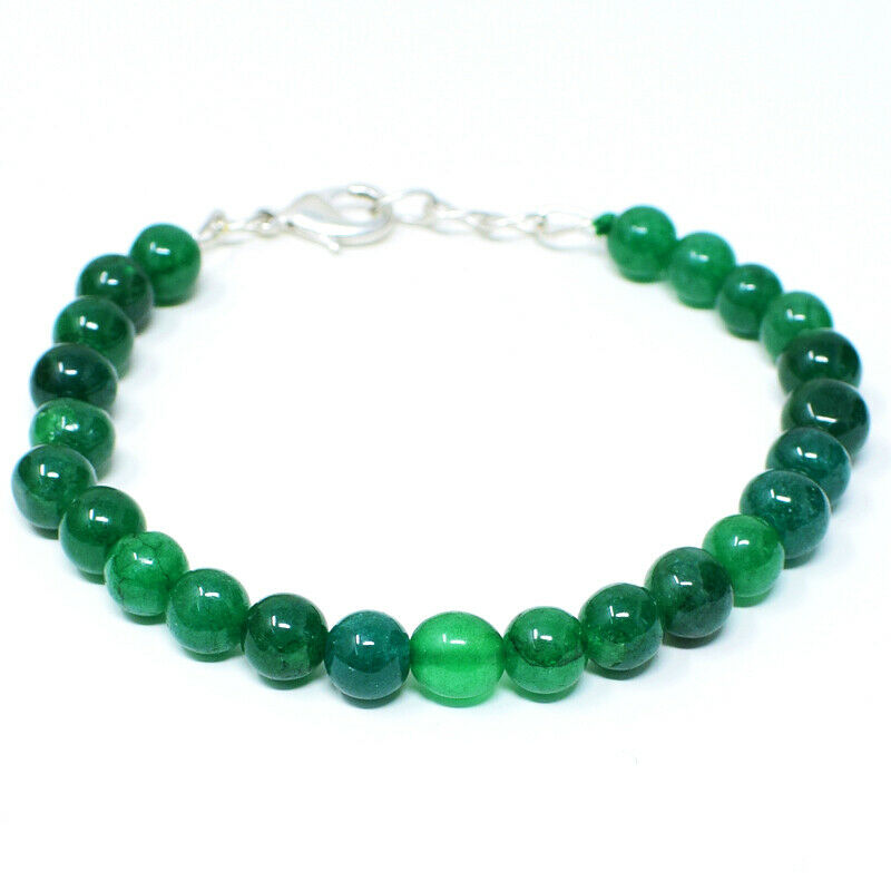 85.00 Cts Earth Mined 7 Inches Long Green Emerald Round Beads Bracelet NK 07E51