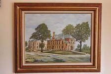 Orig. Oil/Acr. on Canvas Artwork Wood Framed of 'St. Boniface' Church/School