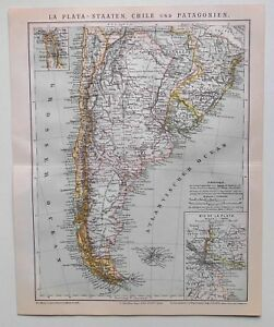 La-Plata-Staaten-Chile-und-Patagonien-alte-Landkarte-Lithographie-1884