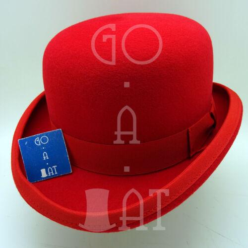 VINTAGE Wool Felt Dura Bowler Top Hat Men Women Derby NEWRedSize 57 59 61
