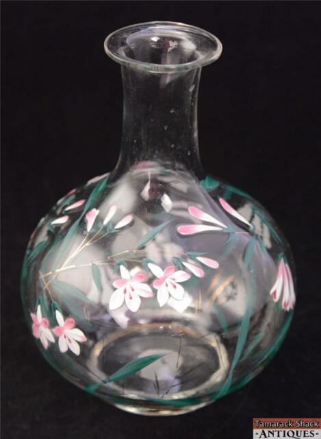Hand Painted Flowers Spring Blown Glass Vase Carafe Clear Enameled Antiques Lily