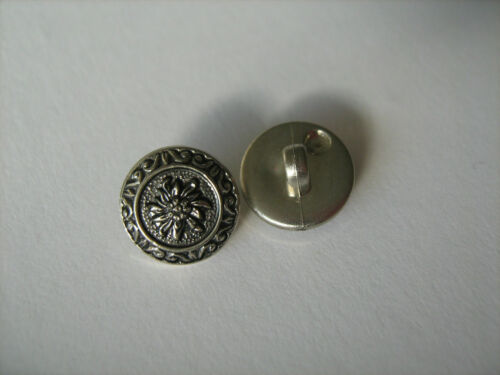 Antique Silver Flower Buttons  X 10   Sewing//Costume//Crafts//Victorian