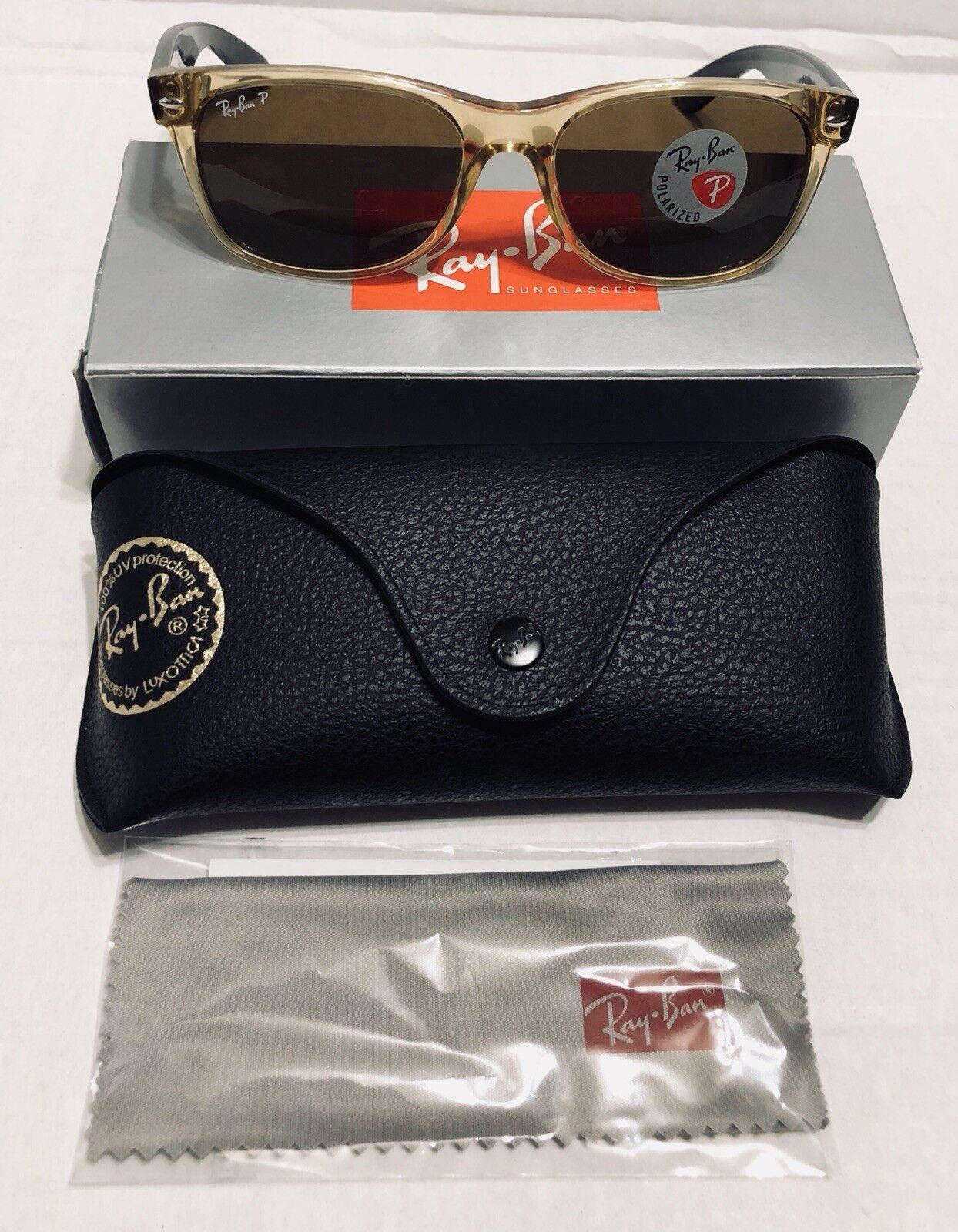 7df292e548 ... australia ray ban rb 2132 55mm 18 wayfarer honey and black polarized  sunglasses ebay bed7f b6155