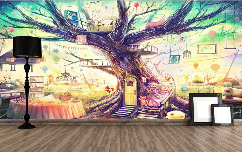 3D Coloured Magic Trees Wallpaper Decal Decor Home Kids Nursery Mural  Home