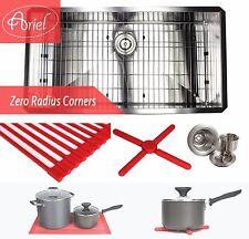 """Ariel 36"""" Undermount Stainless Steel Zero Radius Single Bowl Kitchen sink Combo"""