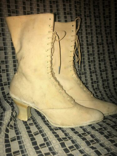 VTG 20S 1900S WOMENS 7 WHITE VICTORIAN LACED CANVA