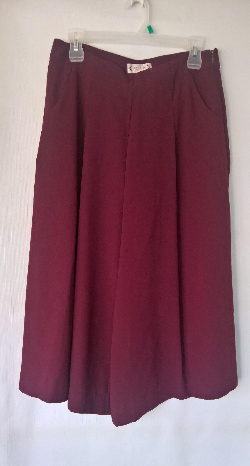 Nanette Lepore Women's Burgundy Stretch Crepe Culotte Pants Size 8