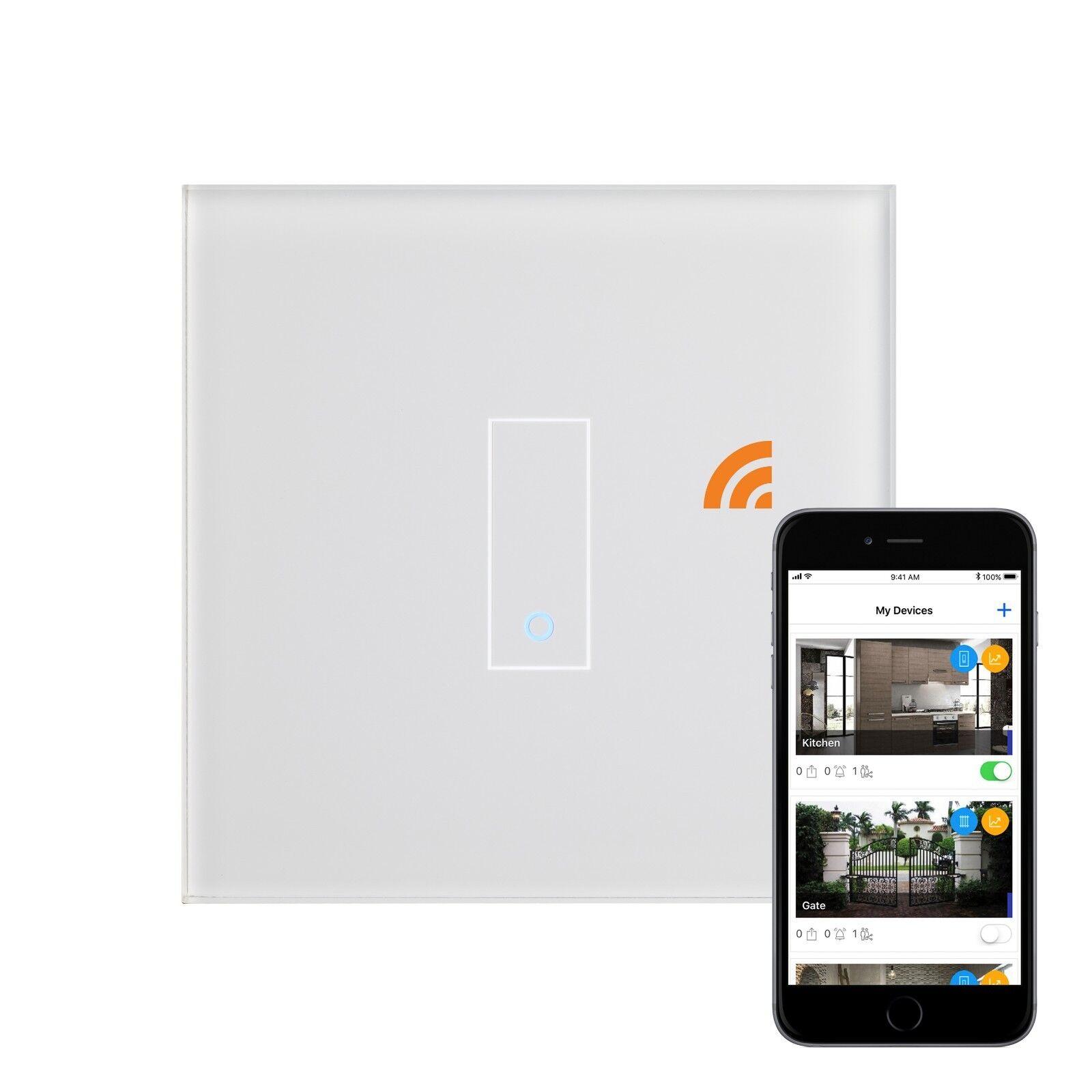Retrojoouch iotty Touch & Remoto Inteligente Wi-Fi Interruptor 1 Gang Cristal blancoo 03500