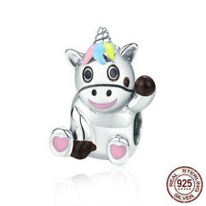 Genuine-925-Sterling-Silver-Cute-Unicorn-Animal-Charm-Beads-fit-Original-Bangles