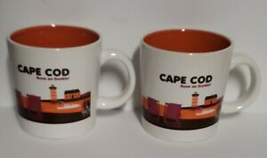Lot of 2 Cape Cod dunkin donuts coffee mugs Coastal Scene Bicycle Very Rare pair
