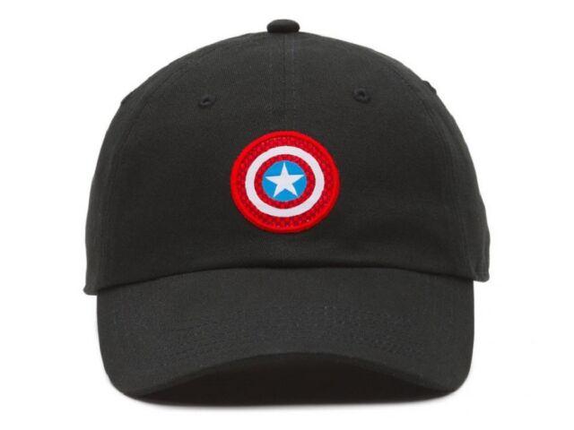 78b7e56e78c VANS X Marvel Captain America Shield Strapback Hat VN0A3QXBBLK Black ...