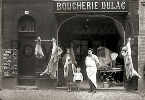 Photo-ancien-commerce-Toulouse-Alimentaire-Boucherie-Dulac-tirage-repro-an-1920