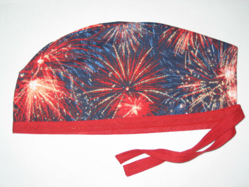 Surgical Scrub Hats//Caps 4th of July Patriotic Rockets red glare sparkly blue