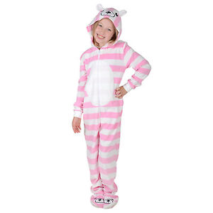 5b9ce9933d Girls Stripey Bear All In One Onesie With Hood   Feet Sleepsuit ...