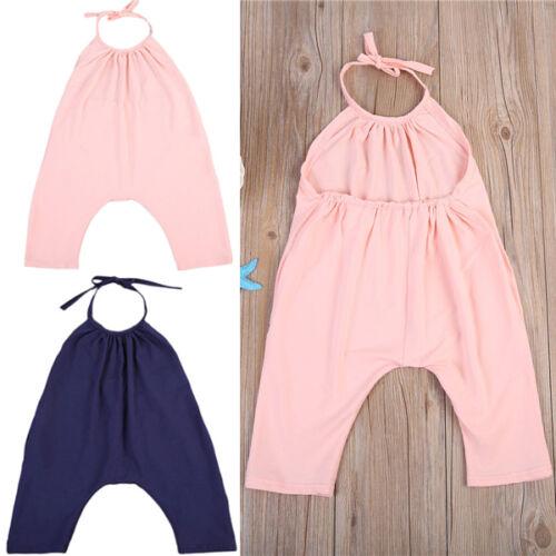UK Kids Baby Girls Strap Romper Jumpsuit Heart Harem Clothes Trousers Clothes