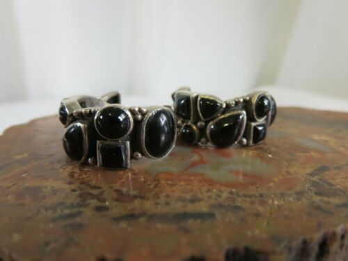 Vintage Sterling Silver Mexican Onyx Cobble Stone