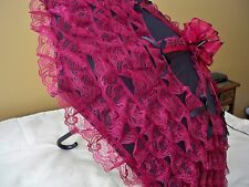 NEW GOTHIC VICTORIAN BURGUNDY LACE w/BOWS on 32 inch in diameter BLACK PARASOL
