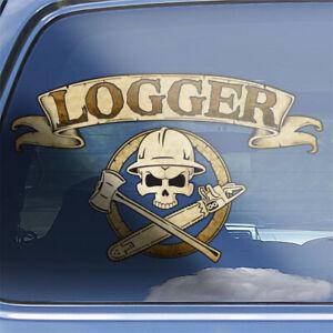 Loggers Crossbones Decal logging arborist forestry chainsaw axe skull sticker