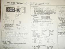 1968 PONTIAC 428 CU IN 375 HP 4 BBL CARB SUN TUNE UP SPECS SHEET STANDARD ENGINE