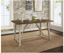 Dining Table for Small Spaces Set for Four Rustic Distressed Wood Top Farmhouse